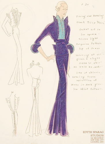 Pl. 24. Purple and blue, tulip moiré jacket with ruched sides and pleated sleeve trimming. Original Fashion Illustration. Edyth Sparag.