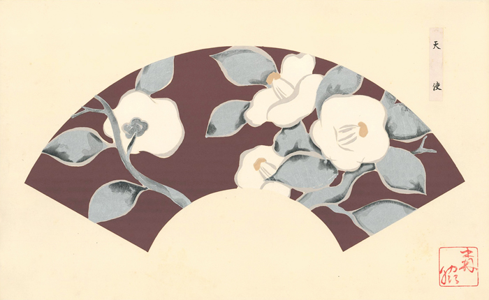 White flowers and silver leaves on a dusty plum background. Japanese Fan Design. Japanese School.
