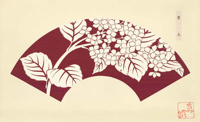 Maroon background with white leaves and blossoms. Japanese Fan Design. Japanese School.