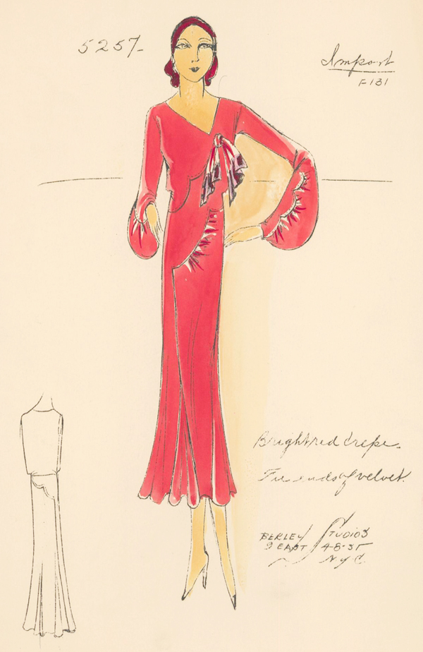 Bright Red Crepe Dress. Unknown Artist.