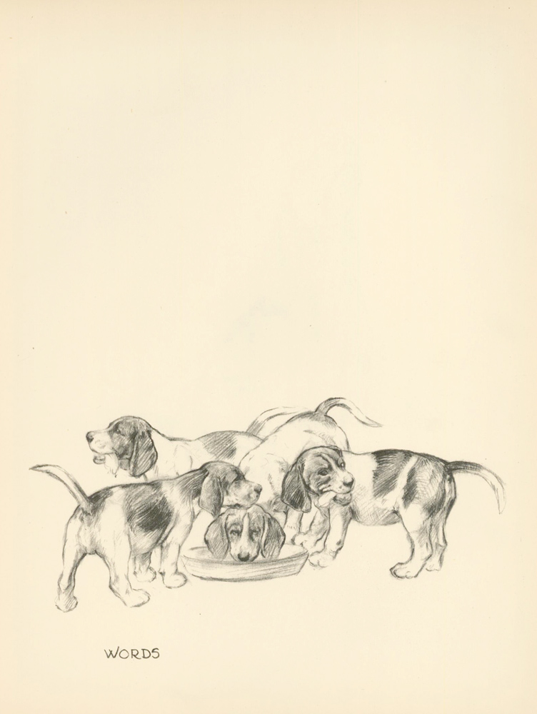 Beagle Puppies. Reverse: 'Chorister' Singing. Just Dogs: Sketches in Pen & Pencil. Kathleen Frances Barker.