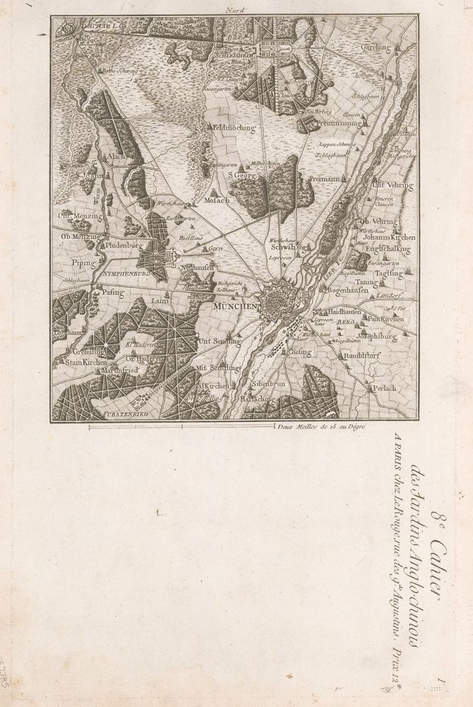Map of Munich in Bavaria. George Louis Le Rouge.