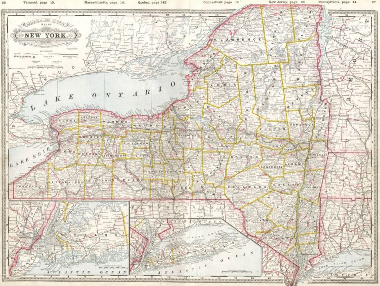 Railroad and County Map of New York. Cram's Standard American Atlas of the World. George Franklin Cram.