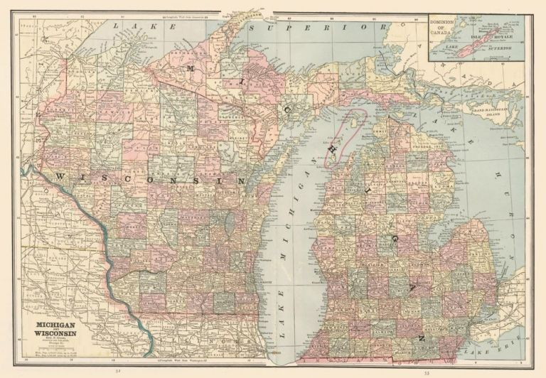 Michigan and Wisconsin. Cram's Unrivaled Atlas of the World. George Franklin Cram.