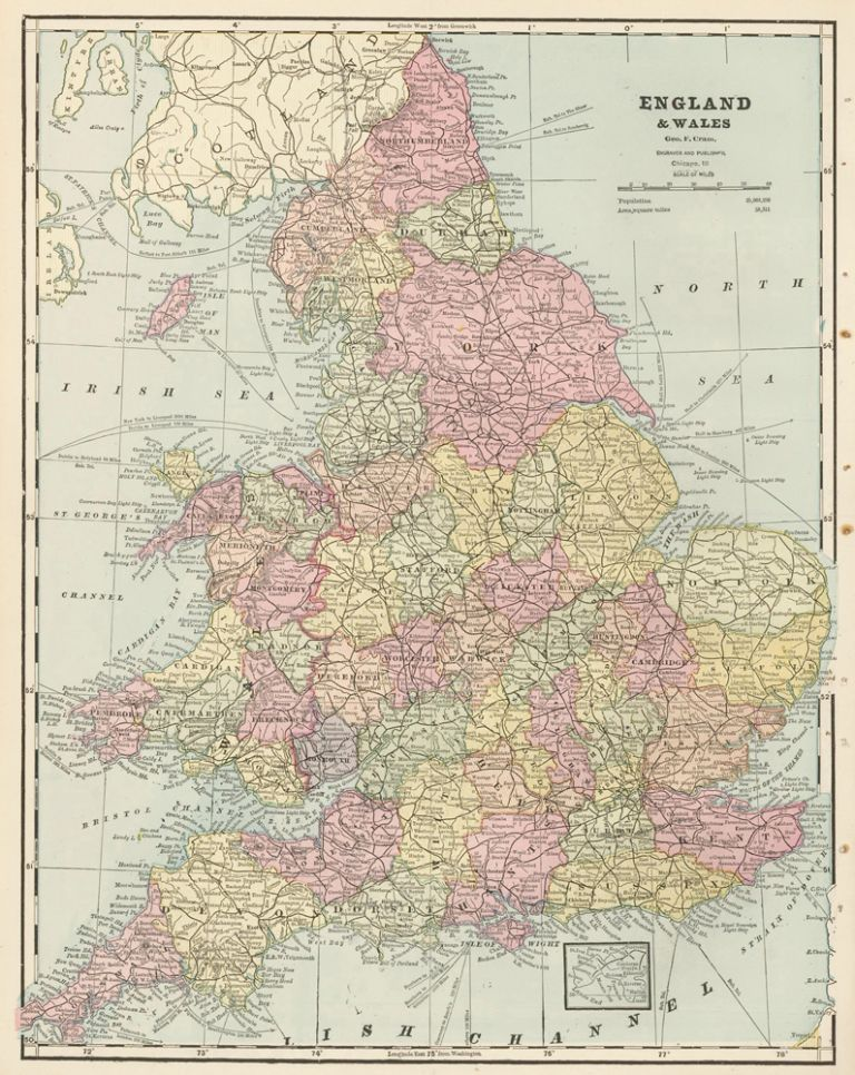 England, with Europe on the verso. Cram's Unrivaled Atlas of the World. George Franklin Cram.