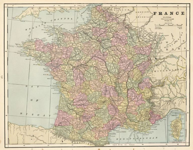 France, with Spain and Portugal on the verso. Cram's Unrivaled Atlas of the World. George Franklin Cram.