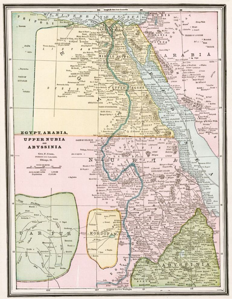 Egypt, Arabia, Upper Nubia and Abyssinai. Cram's Unrivaled Atlas of the World. George Franklin Cram.