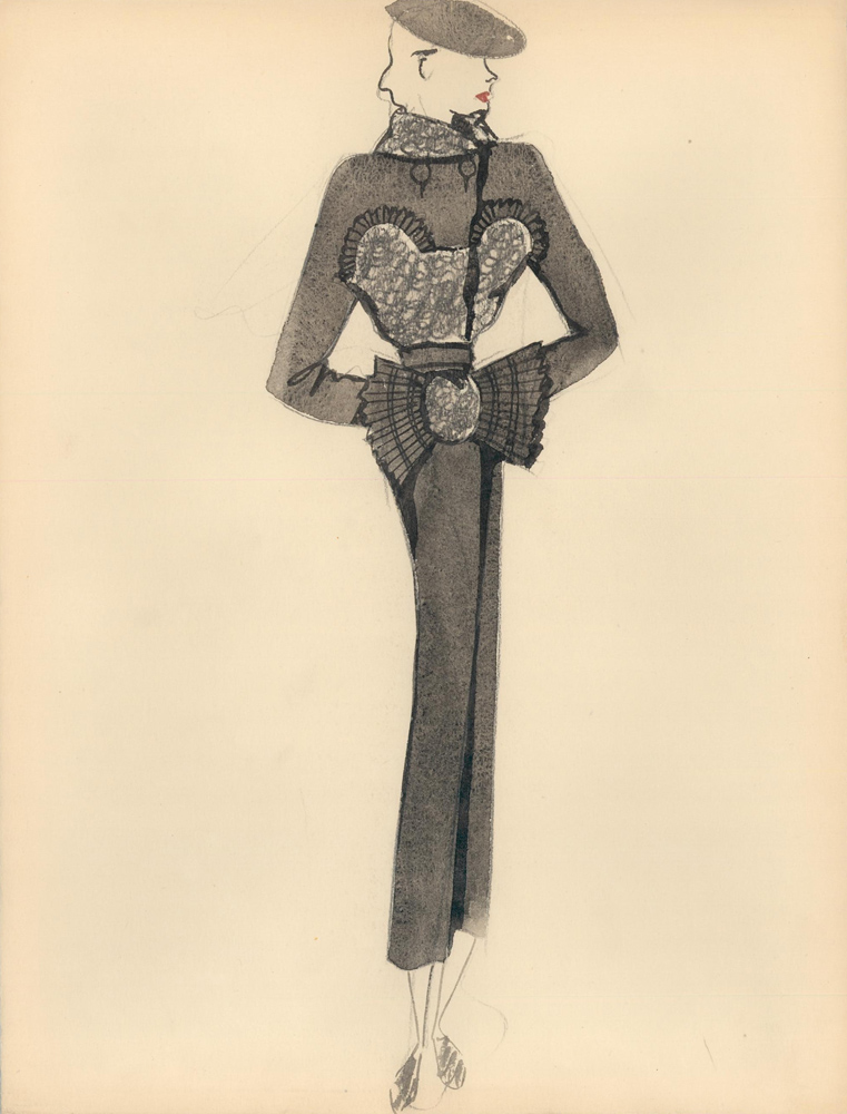 Black Coat with Fur and Pleated Detail. Fashion Illustrations. Charlotte Revyl.