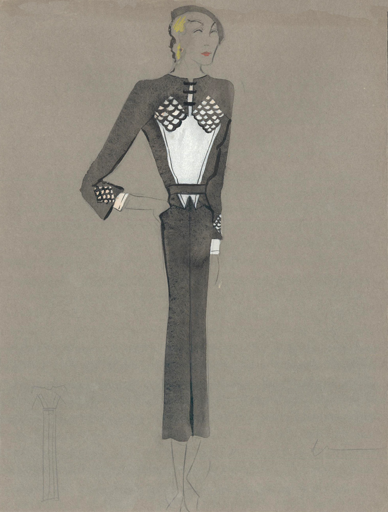 Black and White Midi Dress with Scale Detail on Chest and Cuffs. Fashion Illustrations. Charlotte Revyl.