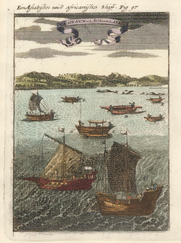 Boats of Asia and Africa. Description de l'Univers. Allain Manesson Mallet.