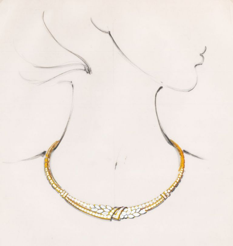 Gold and Diamond Necklace. French school.