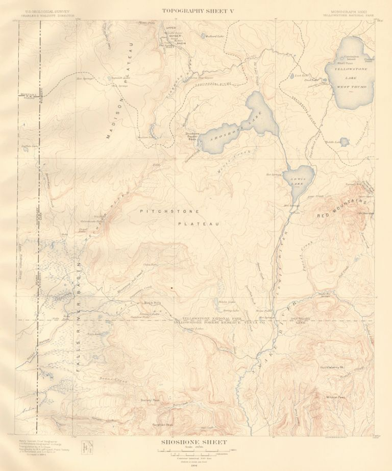 Shoshone Sheet. Atlas to Accompany Monograph XXXII on the Geology of the Yellowstone National Park. Arnold Hague.