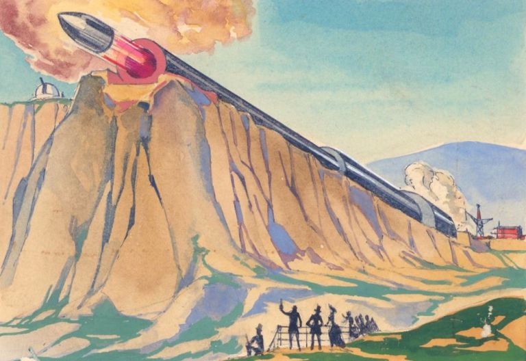 Missile Launch. Science Fiction Imagery and Futuristic Landscapes. French School.