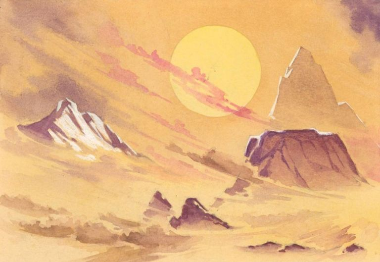 Canyon Landscape. Science Fiction Imagery and Futuristic Landscapes. French School.