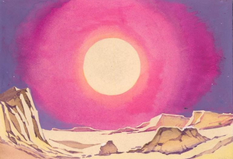 Sun over Canyon. Science Fiction Imagery and Futuristic Landscapes. French School.