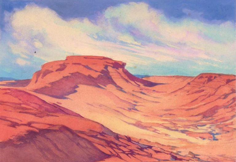 Canyons Landscape. Science Fiction Imagery and Futuristic Landscapes. French School.