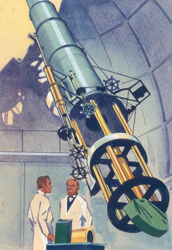 Scientists and Telescope. Science Fiction Imagery and Futuristic Landscapes. French School.