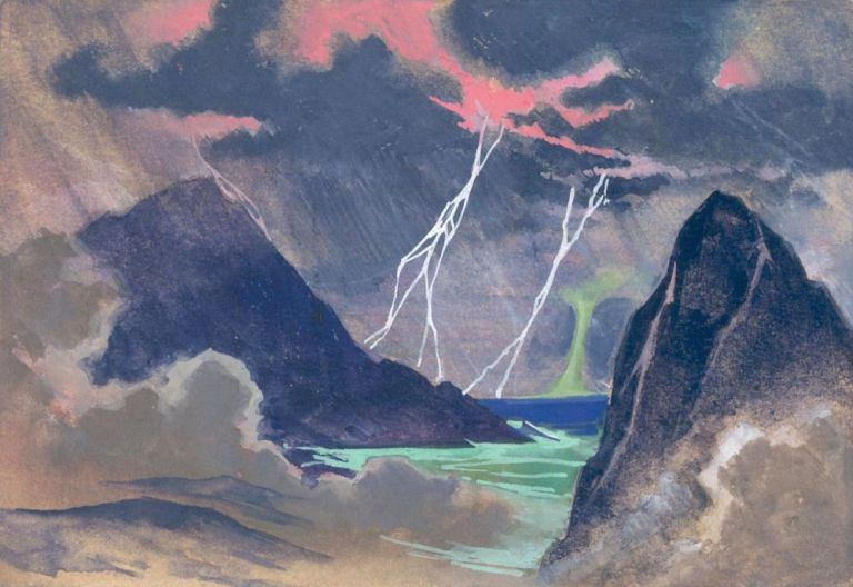 Lightning over the Sea. Science Fiction Imagery and Futuristic Landscapes. French School.