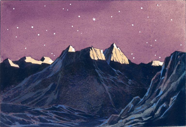 Crater and Mountain Landscape. Science Fiction Imagery and Futuristic Landscapes. French School.