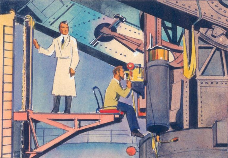 Scientists inside Space Exploration Structure. Science Fiction Imagery and Futuristic Landscapes. French School.