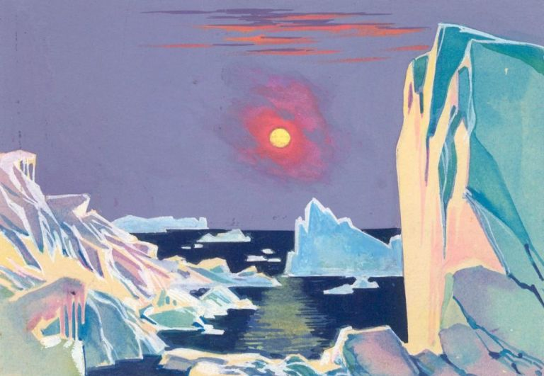 Icebergs. Science Fiction Imagery and Futuristic Landscapes. French School.
