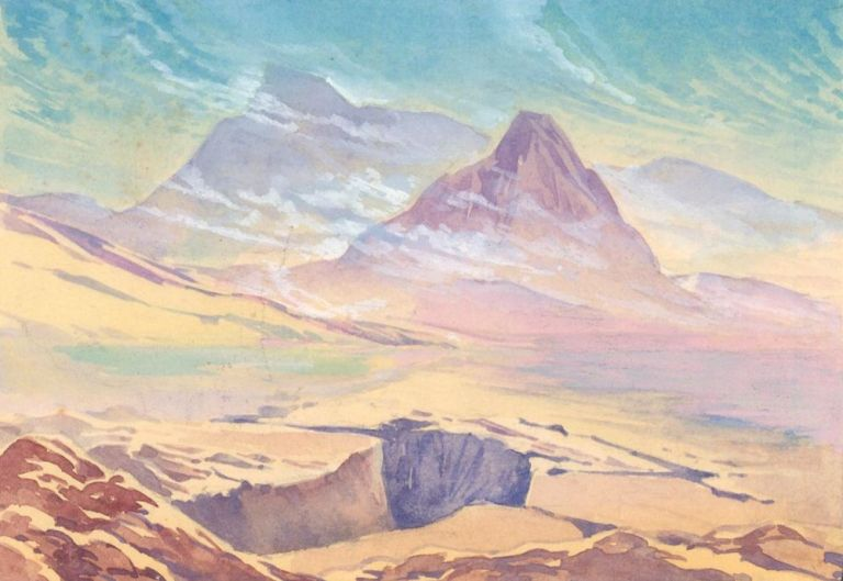 Mountain Landscape. Science Fiction Imagery and Futuristic Landscapes. French School.