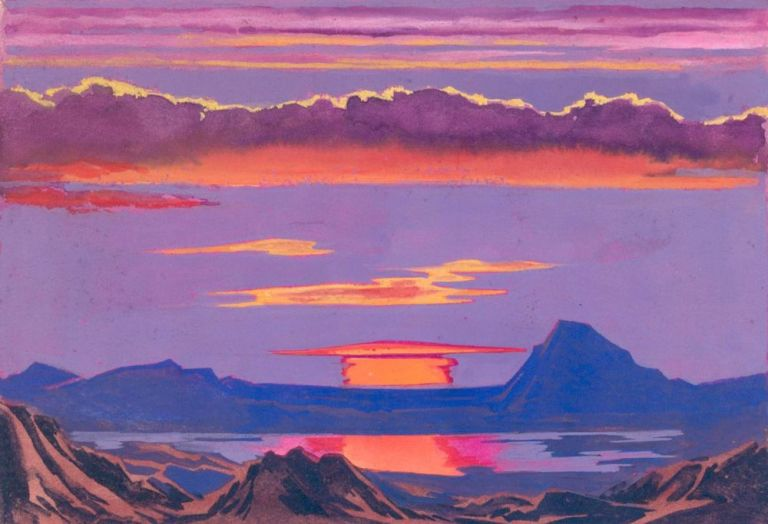 Sunset. Science Fiction Imagery and Futuristic Landscapes. French School.