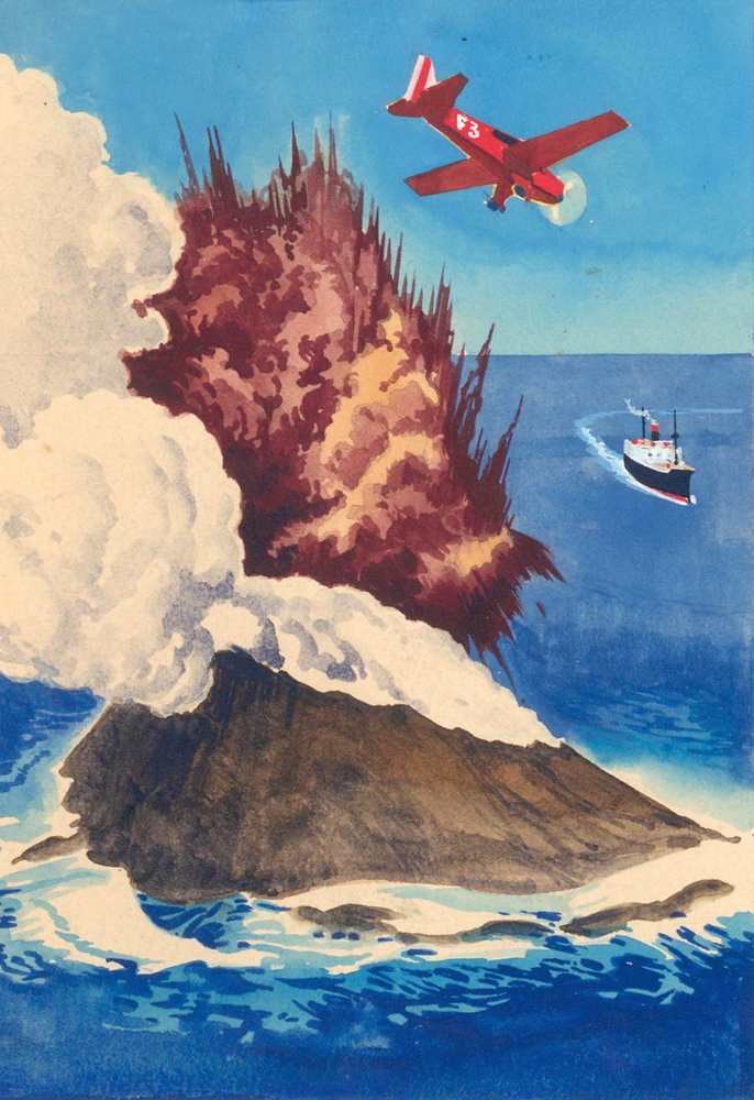 Airplane and Ship with Explosion. Science Fiction Imagery and Futuristic Landscapes. French School.