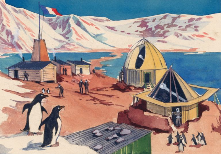 Penguins at Antarctic Observatory. Science Fiction Imagery and Futuristic Landscapes. French School.