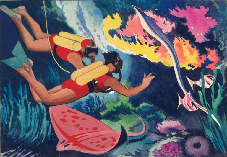 Scuba Diver. Science Fiction Imagery and Futuristic Landscapes. French School.
