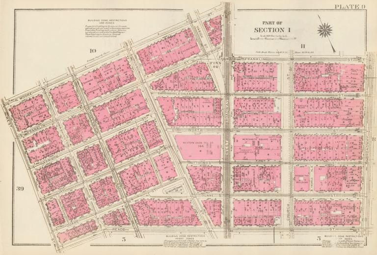 Section 1: Plate 9. Land Book of the Borough of Manhattan, City of New York. Bromley, GW Bromley, Co.