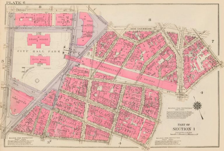 Section 1: Plate 6. Land Book of the Borough of Manhattan, City of New York. Bromley, GW Bromley, Co.