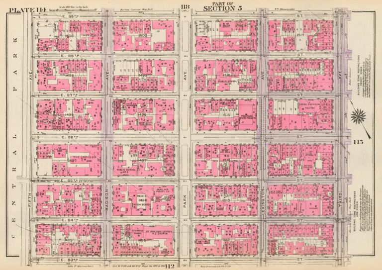 Section 5: Plate 114. Land Book of the Borough of Manhattan, City of New York. Bromley, GW Bromley, Co.