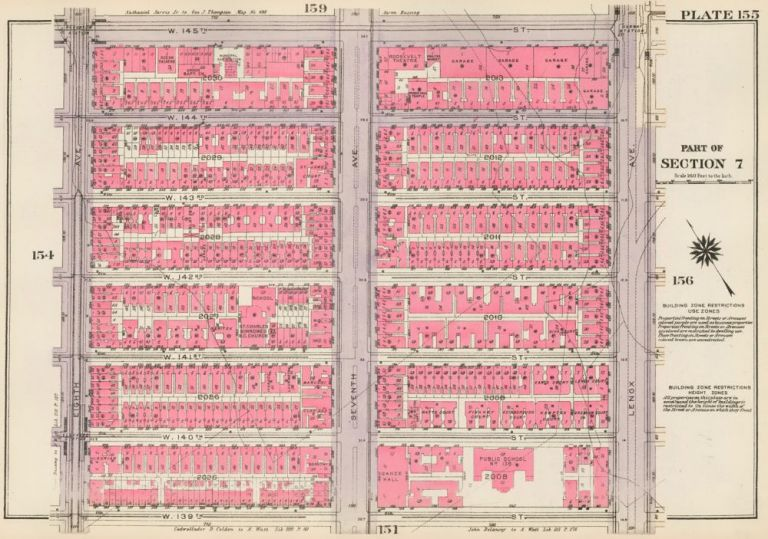 Section 7: Plate 155. Land Book of the Borough of Manhattan, City of New York. Bromley, GW Bromley, Co.