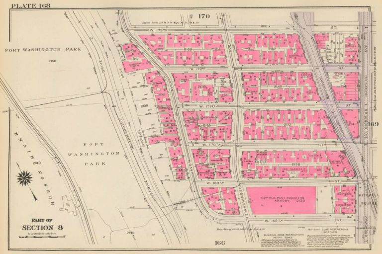 Section 8: Plate 168. Land Book of the Borough of Manhattan, City of New York. Bromley, GW Bromley, Co.