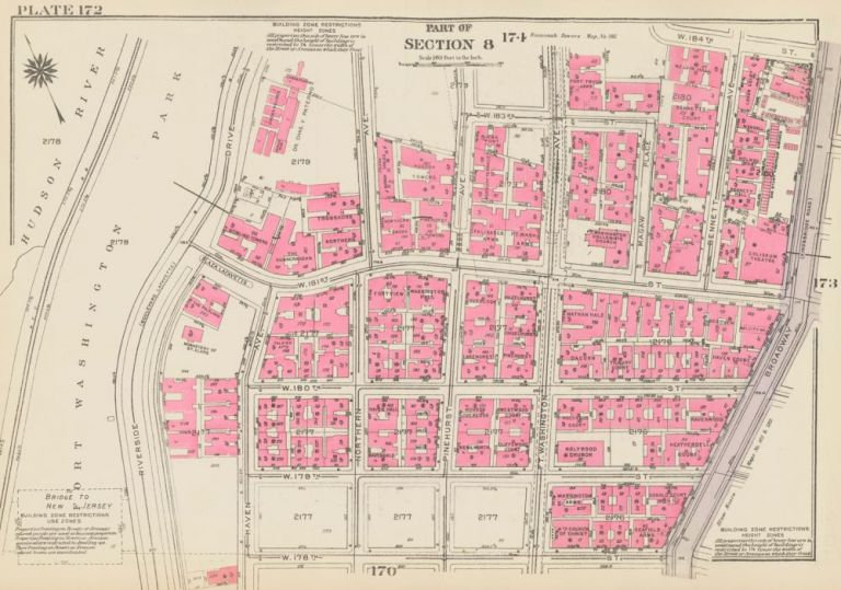 Section 8: Plate 172. Land Book of the Borough of Manhattan, City of New York. Bromley, GW Bromley, Co.