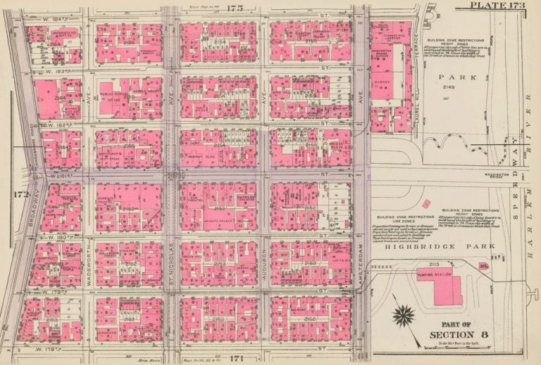 Section 8: Plate 173. Land Book of the Borough of Manhattan, City of New York. Bromley, GW Bromley, Co.