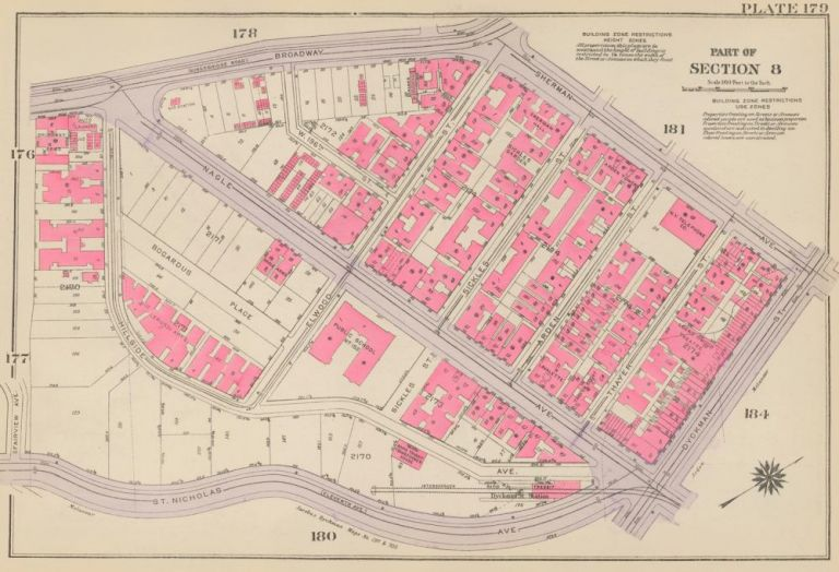 Section 8: Plate 179. Land Book of the Borough of Manhattan, City of New York. Bromley, GW Bromley, Co.