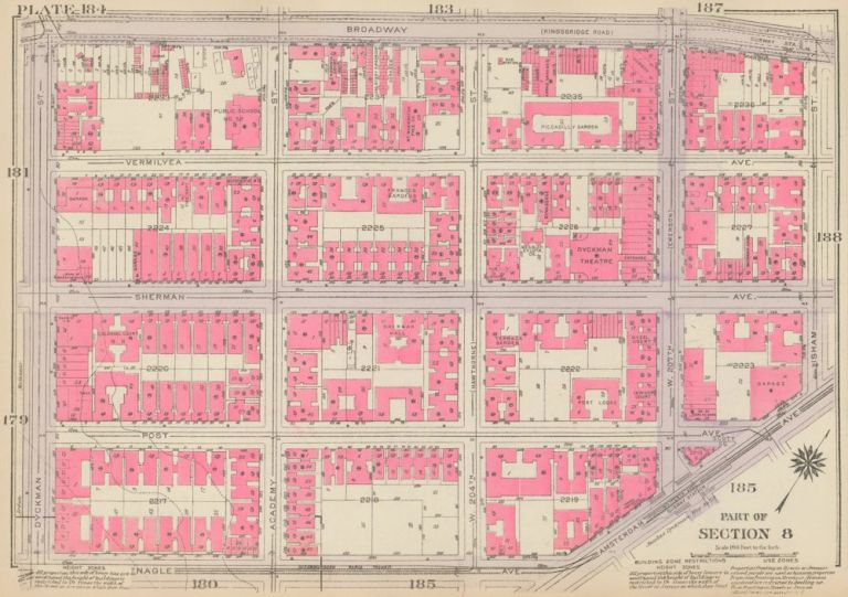 Section 8: Plate 184. Land Book of the Borough of Manhattan, City of New York. Bromley, GW Bromley, Co.