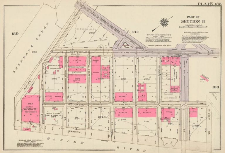 Section 8: Plate 185. Land Book of the Borough of Manhattan, City of New York. Bromley, GW Bromley, Co.