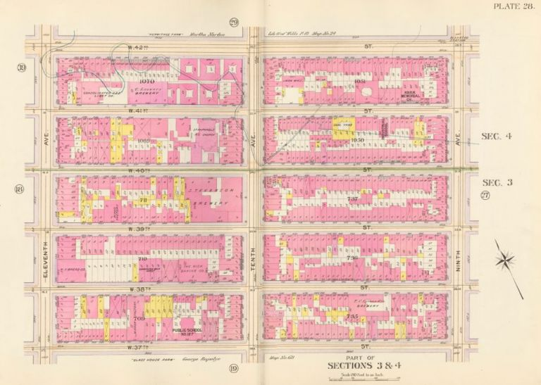 Section 4: Plate 28. Atlas of the City of New York. Bromley, GW Bromley, Co.
