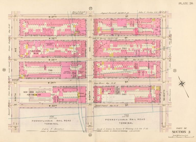Section 3: Plate 20. Atlas of the City of New York. Bromley, GW Bromley, Co.