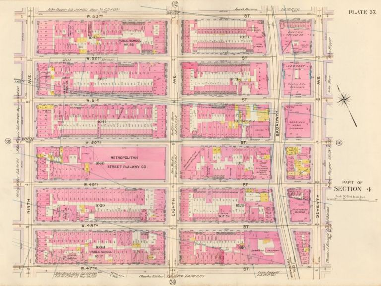 Section 4: Plate 37. Atlas of the City of New York. Bromley, GW Bromley, Co.