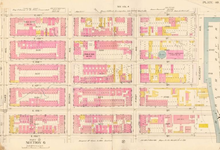Section 6: Plate 40. Atlas of the City of New York. Bromley, GW Bromley, Co.