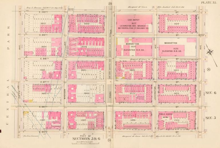 Sections 5 & 6: Plate 35. Atlas of the City of New York. Bromley, GW Bromley, Co.