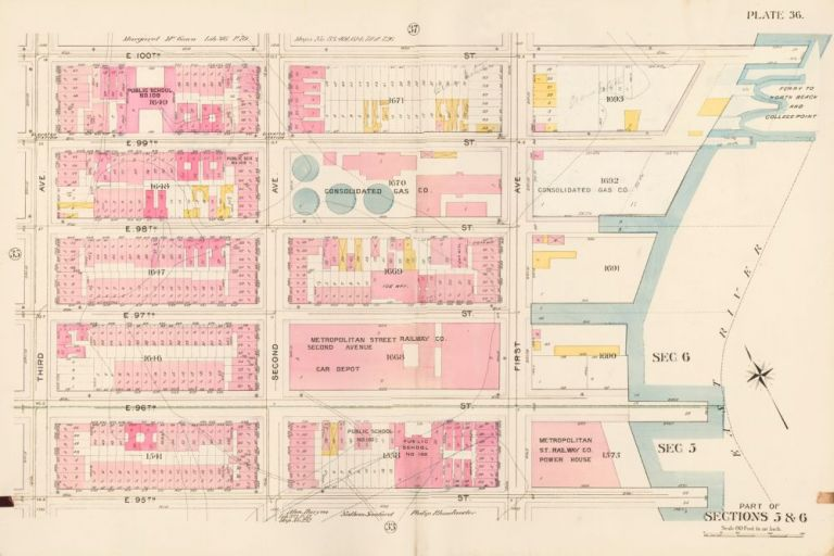 Sections 5 & 6: Plate 36. Atlas of the City of New York. Bromley, GW Bromley, Co.
