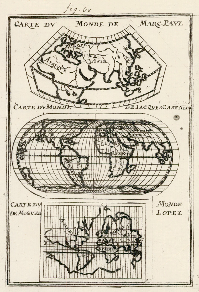 Changes in world map constuction since the discovery of the Americas. Description de l'Univers. Allain Manesson Mallet.