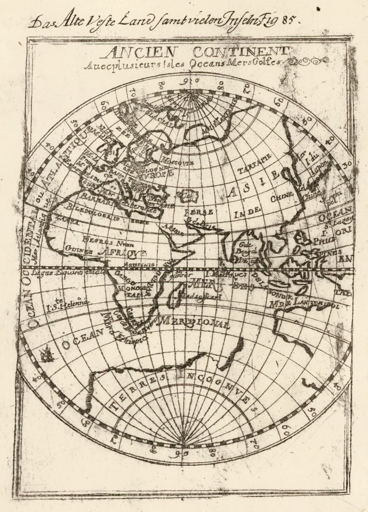 Ancient continent with several islands, oceans, and seas. Description de l'Univers. Allain Manesson Mallet.