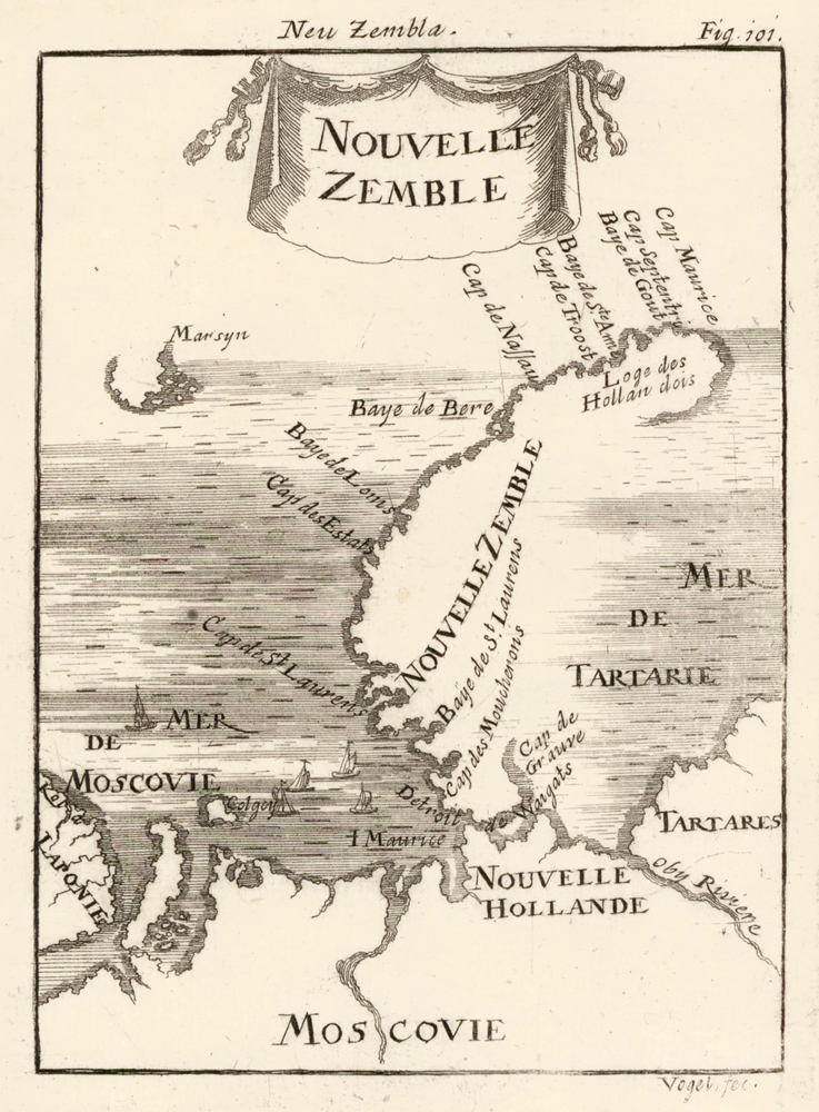 Map of Novaya Zemlya [Nova Zembla], Russia. Description de l'Univers. Allain Manesson Mallet.
