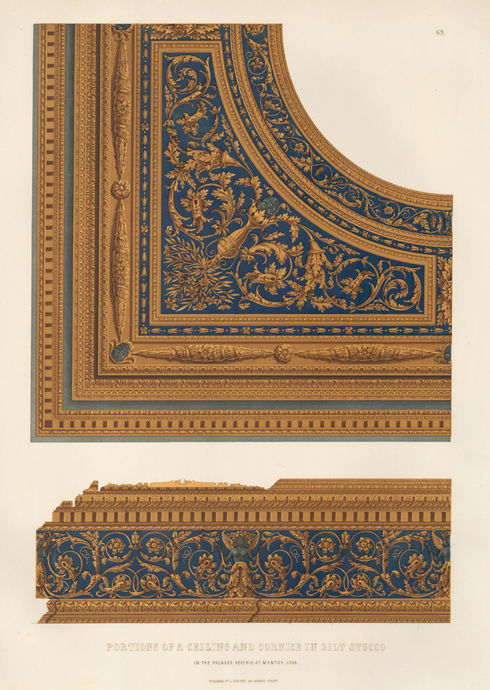 Portions of a Ceiling and Cornice in Gilt Stucco. Specimens of Ornamental Art. Lewis Gruner.